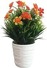 Artificial Lifelike Green Plants Decoration, 1Pc Potted Artificial Plum Blossom Flower Bonsai Home Garden Desktop Prop Decor - Orange