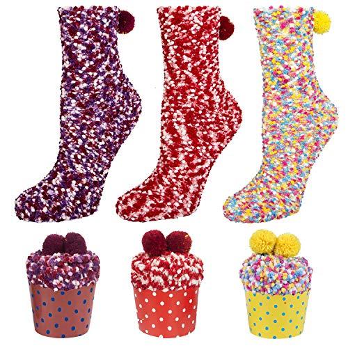 YSense Cupcake Kuschelsocken Damen Geschenk für Frauen Geschenk Box Socken Weihnachtsgeschenke Valentinstag Geburtstagsgeschenk für Frauen, Freundin 3Paar MEHRWEG