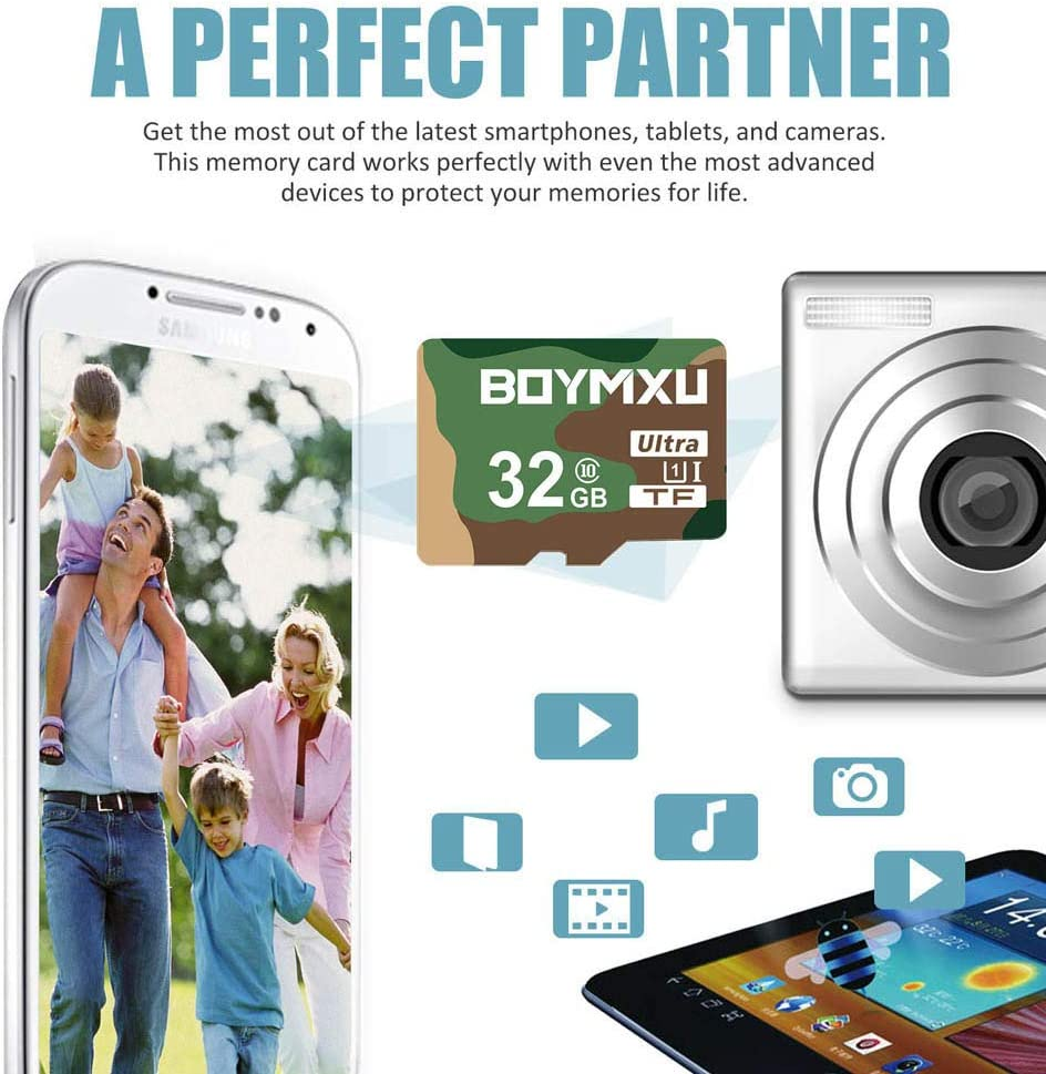 TF Card 32GB,BOYMXU TF Memory Card with Adapter,High Speed UHS-I Card Class 10 Memory Card for Phone Camera Computer-Military Color