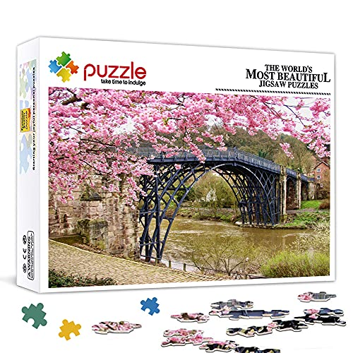 KKASD Puzzle de madera de 500 piezas, puente de hierro Sakura rompecabezas de la estrella, juego de rompecabezas, regalo de juguete educativo, 52 x 38 cm