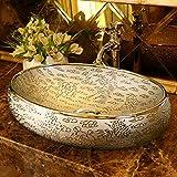 DWSS® Lavabo de cerámica Lavabo de encimera de arte de estilo retro ovalado...