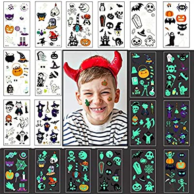 Halloween Tattoos for kids, 100 styles Halloween Temporary Tattoo Spider Pumpkin Waterproof Luminous glow in the dark Stickers Dance Theme Party Decorations for Adult and Kids gift
