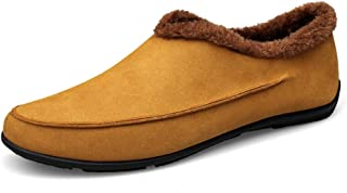 Xiang Ye Men's Fashion Driving Loafers Casual Classic Solid Color Low-top Winter Fleece Lined Boat Moccasins (Color : Earthy Yellow, Size : 5.5 UK)