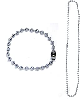 Confidence Adjustable Ball Chain Necklace with Bead Bracelet for Unisex Silver Pack Of 1