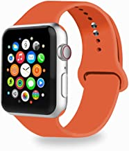 Threenine for Watch Band 38/40mm 42mm/44mm, Soft Silicone Watch Strap Replacement Sport Band Compatible with Watch Band Series 4 Series 3 Series 2 Series 1 Sport & Edition (Apricot red, 42mm/44mm-SM)