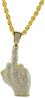 Men's 18k Gold Plated CZ Fully Iced Out Middle Finger Egyptian Life Key Cuban Chain Pendant