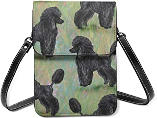 Kleine Umhängetasche, schwarzer Pudel auf Pastellfarben, Crossbody-Tasche, Handytasche, Geldbörse, leichte Crossbody-Tasch...