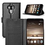 Huawei Mate 9 Custodia - IVSO Lussuosa PU Cover Custodia Protettiva Portafoglio da Mano per Huawei Mate 9 Smartphone (Nero)