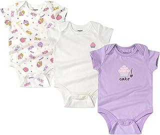 Yuwao 3er Pack Baby Tier Kurzarm-Body, Jungen Mädchen Sommer Strampler Schlafanzug Süß und Super Weich Baumwolle Jumpsuit Set 3-24 Monate