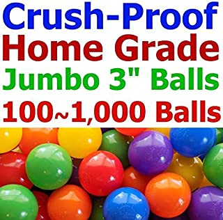 "My Balls Pack of 300 Jumbo 3"" Crush-Proof Ball Pit Balls - 5 Bright Colors, Phthalate Free, BPA Free, PVC Free, Non-Toxic, Non-Recycled Plastic (Standard Home Grade, Pack of 300)"