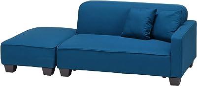 不二貿易 ソファ 2人掛け カウチソファ 幅110cm ブルー オットマン クッション付き 2way あぐら 59209