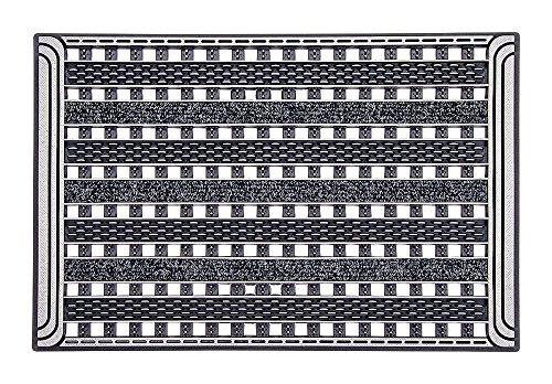 Home2Fashion PUR GridClean Fußmatte, TPE-VC-Kunststoff, 100 % nachhaltig, Metallic Anthrazit, 59 x 39 cm
