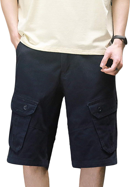 Lu's Chic Men's Cargo Shorts Cotton Casual Shorts Soft Knee Length Zipper Premium with Pockets