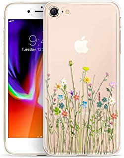Unov Case Clear with Design Embossed Floral Pattern TPU Soft Bumper Shock Absorption Slim Protective Cover for iPhone 8 iPhone 7 4.7 Inch(Flower Bouquet)