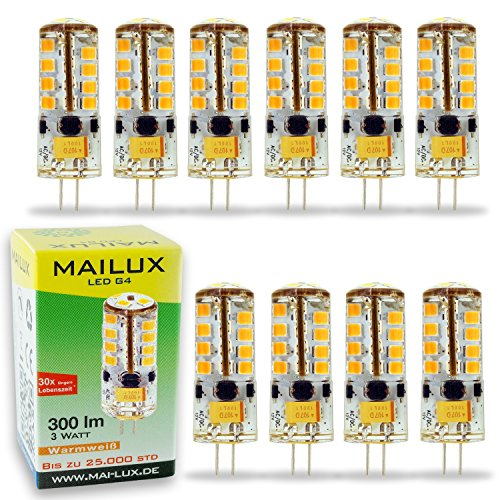 MAILUX LED | G4 | Stift | 3W | 300lm | 27 SMD | dimmbar | (warmweiß, 10er Pack)