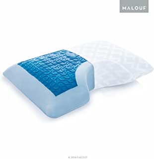 MALOUF Z Side Sleeper Shoulder Cutout Dough Memory Foam Pillow with Liquid Gel Layer-Queen, Blue