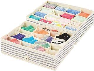 Foldable Cloth Dresser Drawer Organizer for Socks,Panties,Underwear,Tank Tops,Ties Organizer,Set of 2 No Smell Safe Gray YOMFUN Socks Organizers Underwear Drawer Organizer