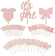 TAJIAA 48 Pcs Cupcake Toppers Baby Jumpsuits Cupcake Picks for Baby Shower Party Decorations (It's A Girl)