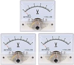 YXQ 0-15V Analog Voltmeter Panel 85C1-V Gauge Meter 2.5 Accuracy for Auto Circuit Measurement Tester (DC 15V-3Pcs)