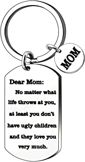 JJIA Mom Gifts Keychain for Mother Mom from Daughter Son Christmas Gifts Thanksgiving Day Gifts Birthday Gifts, Silver, Large