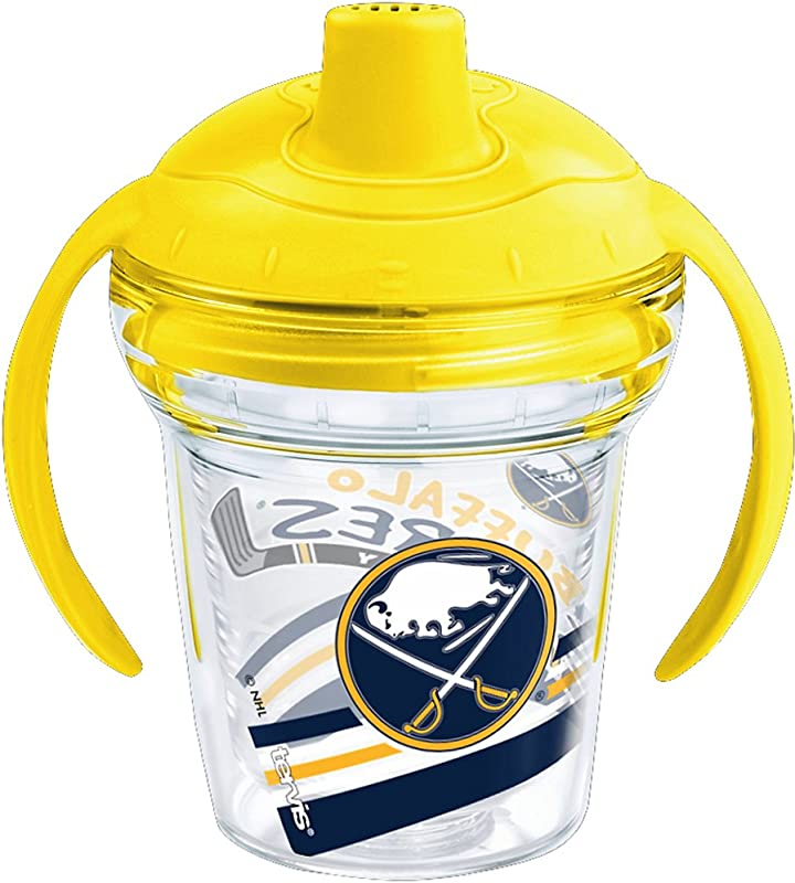 Tervis 1260371 NHL Buffalo Sabres Lil Fan Insulated Tumbler With Wrap And Bumblebee Yellow Lid 6 Oz Clear