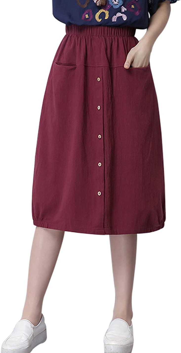 Jenkoon Women's Buttons Front Linen Skirt Pleated Elastic Waist Casual Jeans Skirt with Pockets