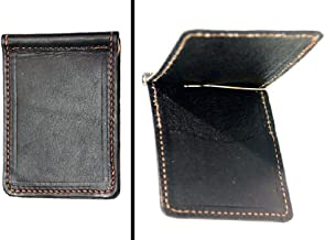 product image for Black Leather Bi Fold Money Clip with Credit Card Pocket USA Handmade Minimalist