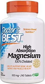 Doctor's Best High Absorption Magnesium Glycinate Lysinate, 100% Chelated, Non-GMO, Vegan, Gluten Free, Soy Free, 100 mg,