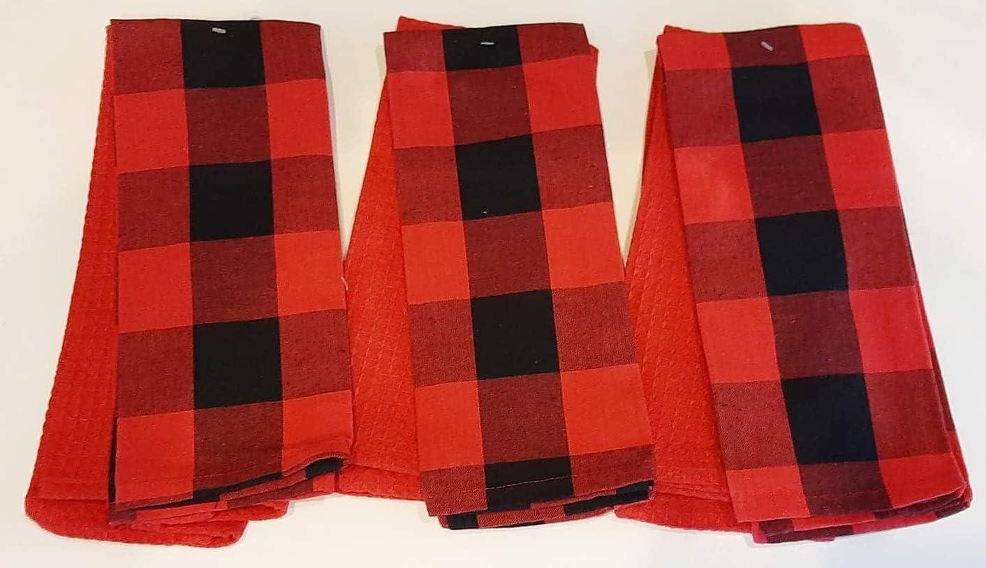 Amazon.com Buffalo Check Linen and Waffle Weave Kitchen Towels ...