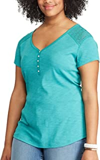 Chaps Womens Plus Size Short Sleeve Tencel Shirt