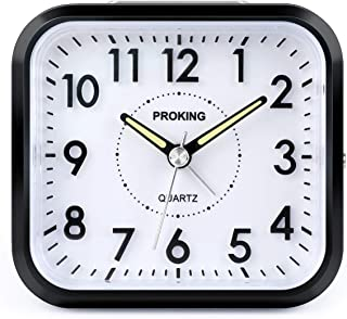 Alarm Clock Analog,4 Inch Silent No-Ticking Travel Alarm Clock with Light and Snooze Function Battery Operated Alarm Clock...