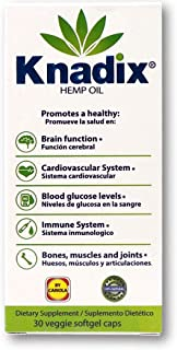 Knadix Hemp Oil Capsules | for Pain, Anxiety and Promoting Healthy Brain Function, Cardiovascular System, Immune System, B...