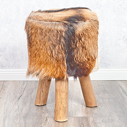LEBENSwohnART Fellhocker Hennes aus Echtem Ziegenfell mit massiven Teakholz-Beinen