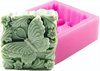 Butterfly in Flowers Soap Mold - MoldFun Butterfly Craft Silicone Mold for Handmade Lotion Bar, Bath Bomb, Wax, Crayon, Polymer Clay, Plaster of Paris