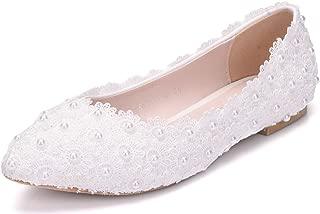 Melesh White Lace Flower Pearls Bride Flat Shoes Wedding
