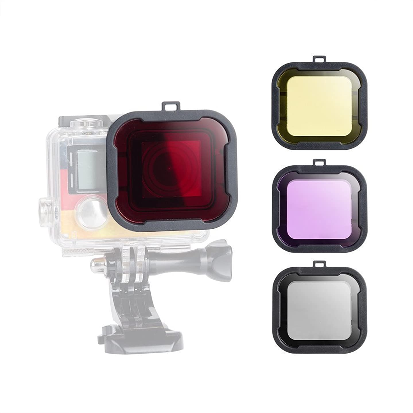Williamcr 4 Pack Diving Lens Filters for GoPro Hero 4 3+ Color Correction Compensation Filters for Underwater Video Photography Filming - Red Yellow Purple Grey