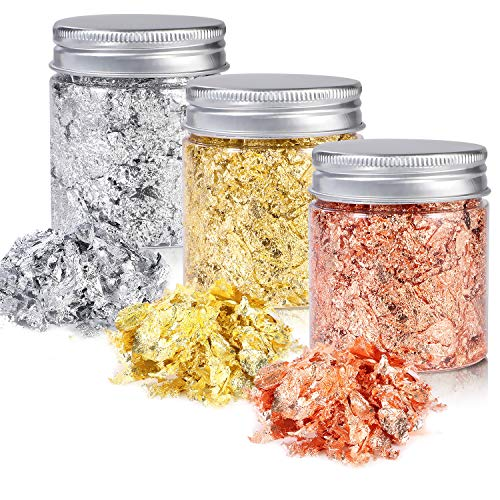 Gold Foil Flakes for Resin,3 Bottles Metallic Foil Flakes 15 Gram,YULIKTOR Imitation Gold Foil Flakes Metallic Leaf for Nails, Painting, Crafts,Slime and Resin Jewelry Making,Gold,Silver,Copper Colors