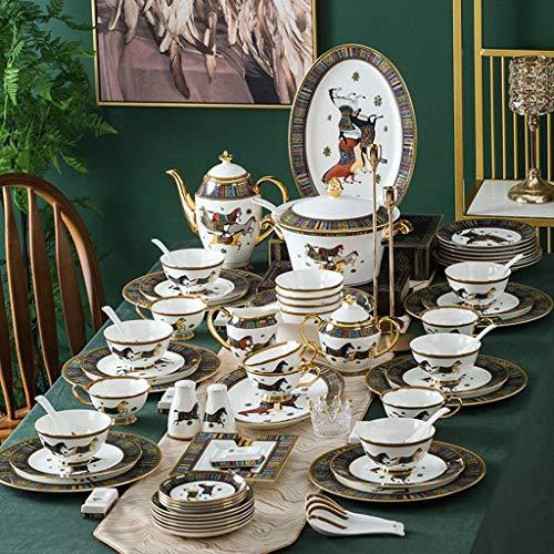 GAXQFEI Ceramica Cena Assortimenti, 67 Pieces Stile Europeo Dinnerware Set And Coffee Set | Piatto/Ciotola/Pot Della...