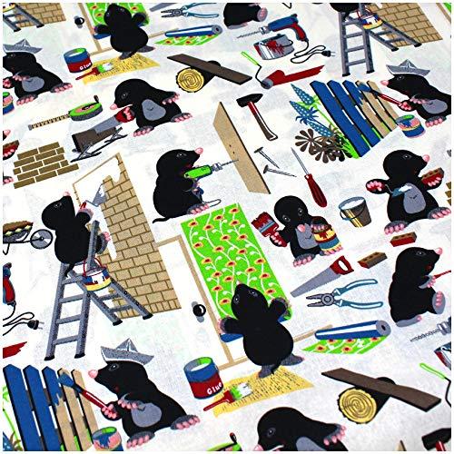 VmG-Store (12,89€/m² Baumwollstoff Stoffe Meterware Nähen I Nähstoff Kinder Kinderstoff 150cm breit (BB011 Maulwurf Handwerker, 50 x 150cm)