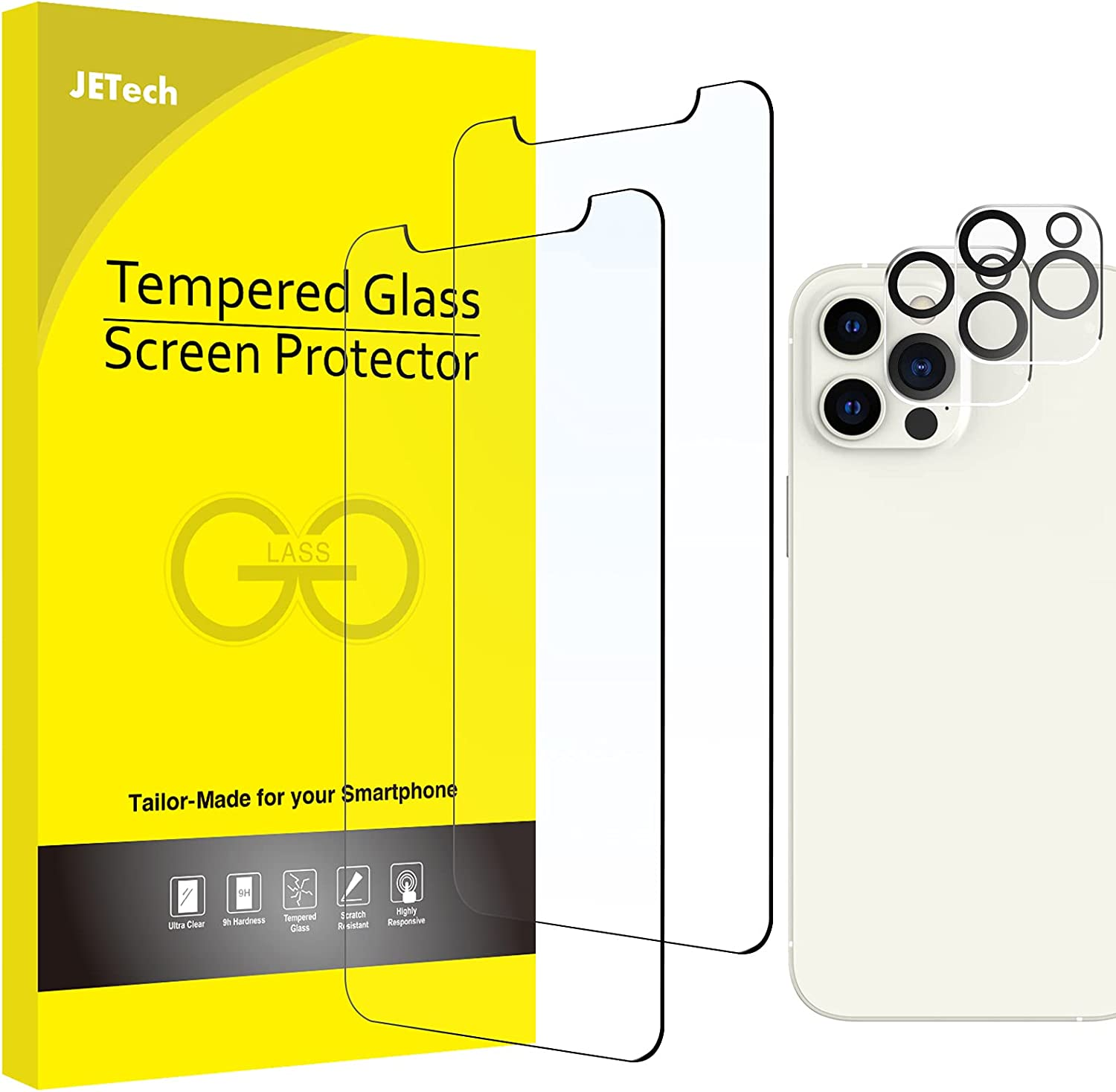 JETech Screen Protector and Camera Lens Protector Compatible with iPhone 12 Pro 6.1-Inch (Not for iPhone 12), Tempered Glass Film, 2-Pack Each