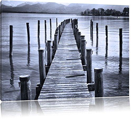 Pixxprint Langer Holzsteg ins Meer als Leinwandbild | Größe: 80x60 cm | Wandbild| Kunstdruck | fertig bespannt