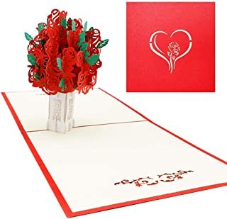 Rose Bouquet Pop Up Card, 3D, Flower, Romance, Wedding, Anniversary, Wife, Love Card by Popup Expressions