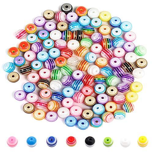 FOGAWA 300 Stück Bunte Perlen zum Auffädeln Acryl Rund Perlen Multicolorperlen Spacer Beads Perlen 8mm Regenbogen Bastelperlen für Kinder Mädchen DIY Armbänder Schmuck Haarband Basteln