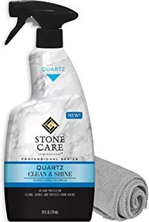Stone Care International Quartz Cleaner and Polish - 24 Ounce with Microfiber Cloth - Clean and Shine Your Quartz Countertops Islands and Stone Surfaces with UV Protection