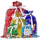 YQing 30 Piezas Bolsas de Navidad, Saco Navidad Sacos Regalo Bolsa con Cordon Navidad Decoracion Regalos, 5 Estilos Surtidos