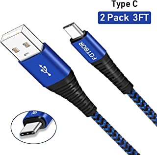 Sony Xperia XZ Premium Charger, USB Type C Charge Cable Fast Charging 2 Pack 3ft, High Speed Nylon Braided Data Transfer Sync Cord for Sony Xperia XZ1 XZ2 Premium XZ X Compact XA1 XA2, Blue Black