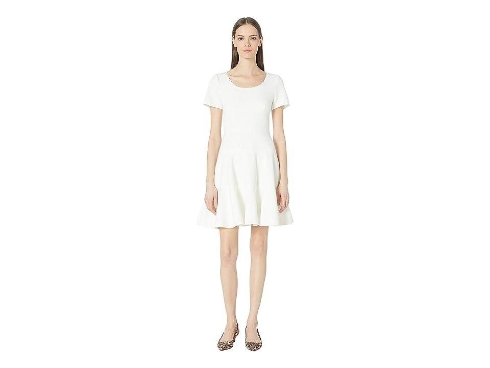 Rebecca Taylor Short Sleeve Stretch Texture Dress (Snow) Women