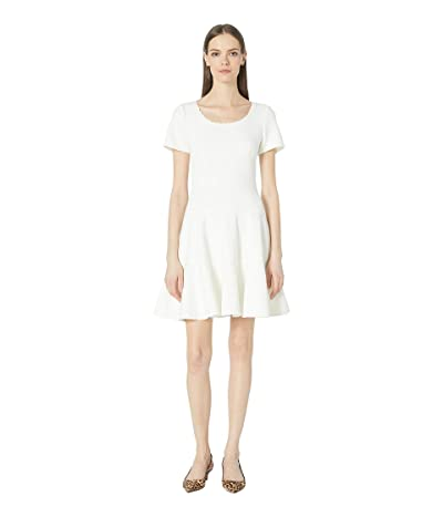 Rebecca Taylor Short Sleeve Stretch Texture Dress (Snow) Women