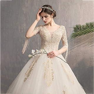 فساتين أنيقة من التول المنتفخ برقبة على شكل V للنساء، فساتين زفاف للعروس بأكمام ذات شراشيب، فستان زفاف لحفلات الزفاف