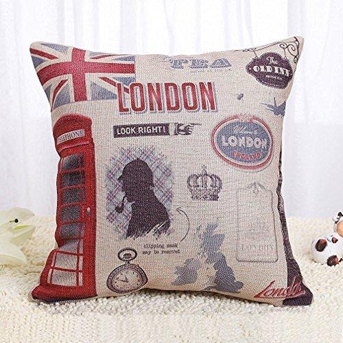 Onker Funda de cojín, algodón, lino, funda cuadrada decorativa, 47,7 x 47,7 cm, Bienvenido a Londres Inglaterra